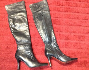 Vintage Two Lips Black Rouched Leather 3/4 Zip Tall Knee High/Over Knee Thigh High Boots Size 7.5M Fits from 6-7.5