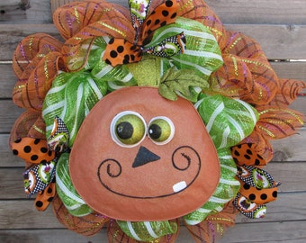 "24"" Pumpkin Wreath- Halloween Deco Mesh Wreath- Jack O Lantern Wreath- Pumpkin Decor- Halloween Decor- Orange/Green Pumpkin Wreath"
