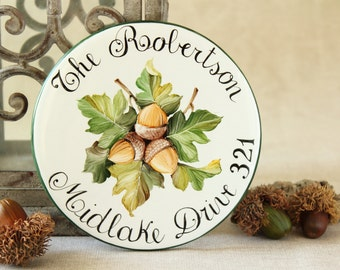 Round plaque Hand painted with acorns. House sign, Address plaque, Outdoor house number.