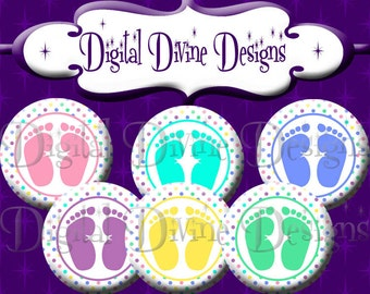 Polka Dot Baby Feet - 1 inch round digital graphics - Instant Download