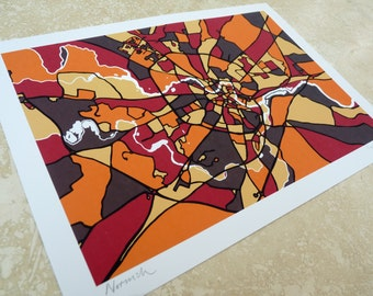 Norwich, UK Art Map - Limited Edition Contemporary Giclée Print