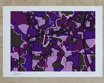 Durham, UK Art Map - Limited Edition Contemporary Giclée Print
