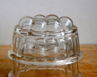 Vintage Two small Glass 1930 Jelly Moulds