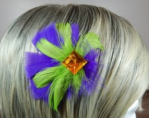 Mardi Gras Feather Hair Clip Purple, Green and Gold