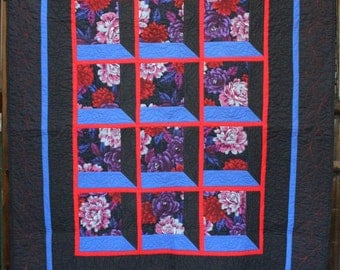 Price Reduced:  Striking Flower Quilt or Wall Hanging