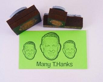 "Many Thanks - Tom Hanks Thank you 3 Stamp set - Funny DIY Thank you ""T.Hanks"""