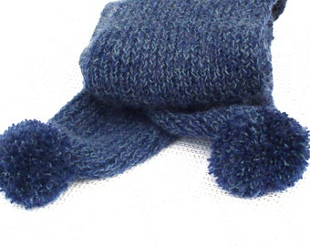Hand knitted wool scarf pompom scarf extra long wool scarf hand knit pompom scarf extra long wool knitted scarf hand knit scarf wool knit