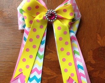 Bows 4 horse shows, Easter chevron hair accessory/pink sparkle gem/Ready2Mail w clips