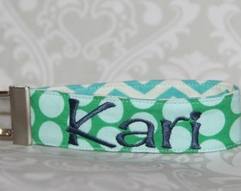 Personalized dotted Key Fob - Keychain - Gift