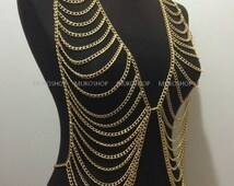 Gold vest chain ,  gold body chain, body chain for stars , best sellers , most popular item, best selling item