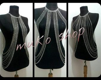 Silver Body Chain, Body chain, body necklace, Necklace,mk*116