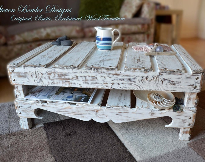 White Nautical Reclaimed Wood Coffee Table in Coastal Driftwood Style Finish with Undershelf Storage & Matt Silver Tacks Made to Order