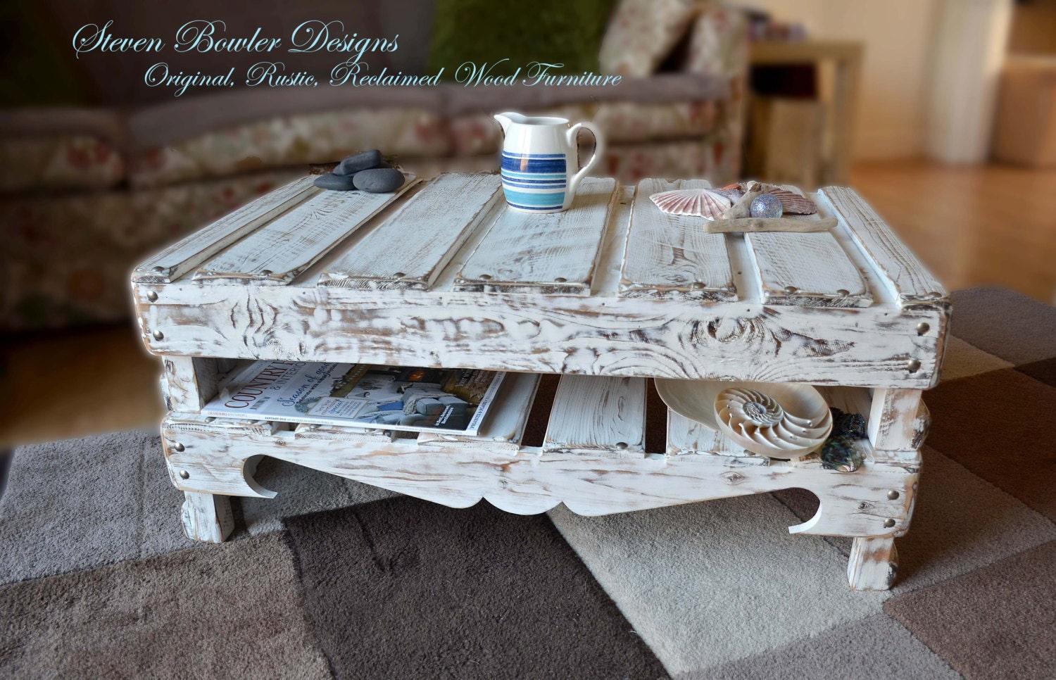 White Nautical Reclaimed Wood Coffee Table Driftwood Style