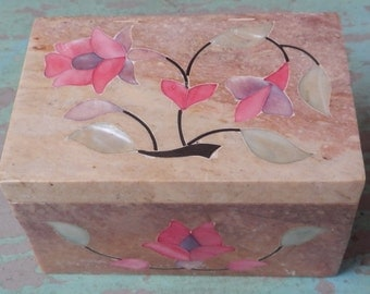 RESERVED FOR CAROLYN Pretty Soapstone Trinket Box with Mother of Pearl Inlay!