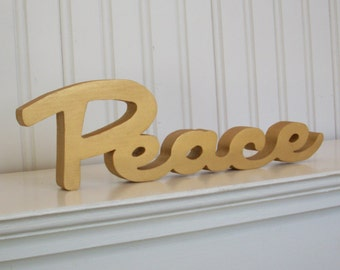 Gold Peace Letter Sign, Mantle Decoration, Holiday Decoration, Wood Peace Sign