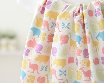 Pastel Color Animal Pattern Cotton Fabric by Yard