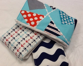 Nautical baby burp cloths