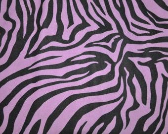 Fabric by the 1/2 Yard - Zebra Purple Flannel