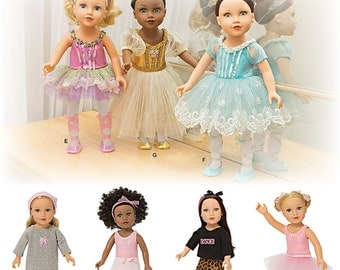 """Simplicity Sewing Pattern 1243 Ballerina and Dance Clothes for 18"""" Doll"""