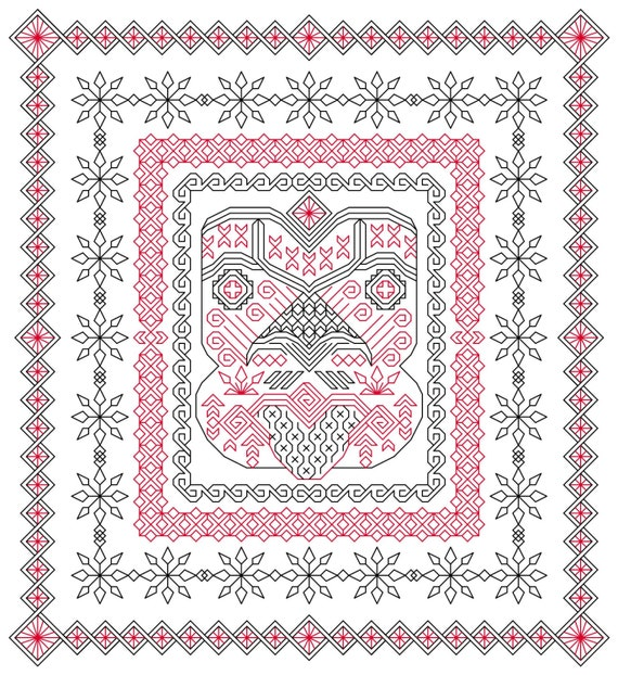Teko blackwork embroidery pattern inspired by a new zealand