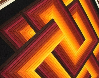 34 in. WOVEN OP ART from the 70s made in Paris France