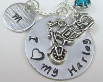 BIker Necklace Harley Necklace Motorcycle Necklace Personalized hand stamped necklace Hand Stamped Jewelry Hand Stamped I Love My Harley