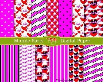 Minnie digital paper Minnie mouse party decorations minnie bow Minnie mouse ears Mickey mouse birthday party Invitation Minnie decoration