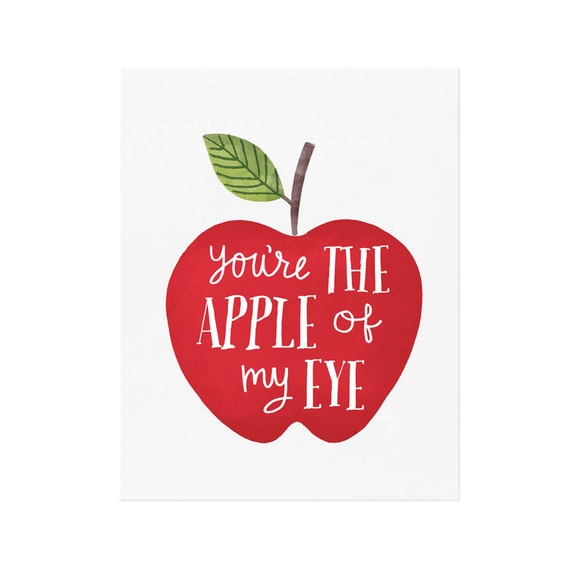 You're the Apple of my Eye - Fruit Art - Nursery Art - Wall Art