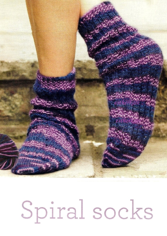 Spiral Socks Knitting Pattern : VINTAGE knitting pattern pdf, easy to knit tube spiral socks with no heel, IN...