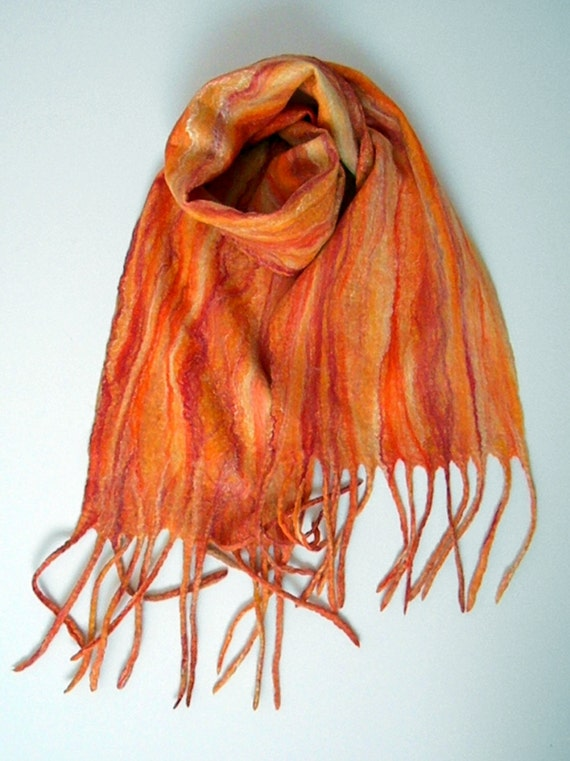 Women scarf Winter outdoor accessory Orange wool warm scarf Christmas gift Fall scarves Long Boho Teen Gift for sister New year party