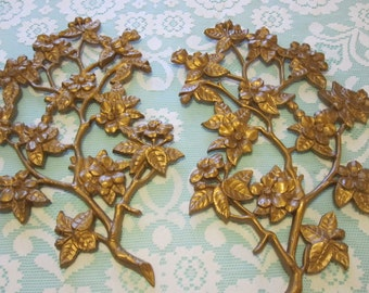 Gold Burwood wall hangings. Vintage gold floral wall hangings vintage wall plaques