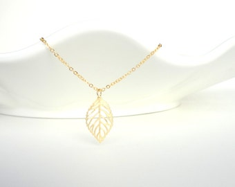 Gold Leaf Necklace, Delicate Necklace, Dainty Necklace, Leaf Necklace, Filigree Leaf, Gift For Her