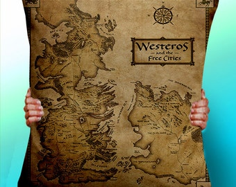 Game of Thrones Map Vintage - Cushion / Pillow Cover / Panel / Fabric