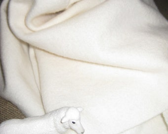 Dorr Solid WHITE 100 Percent Wool fabric. Order your choice of size.
