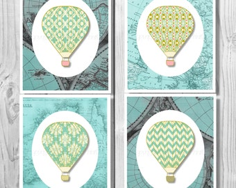 Hot Air Balloon Nursery, Vintage Hot Air Balloon, Hot Air Balloon Printable, Hot Air Balloon, Hot Air Balloon Decoration, Nursery Decor 0259