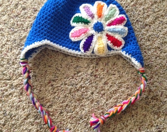 Crocheted Daisy Girl Scout Beanie with earflaps