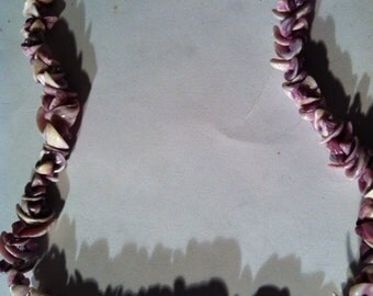 Handcrafted Purple Curly Side Cut Shell Choker Necklace