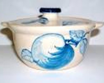 Reduced: Vintage Original Dorchester Pottery Fruit Pattern  Individual Covered Soup  or Casserole  - Apple and Leaves Design
