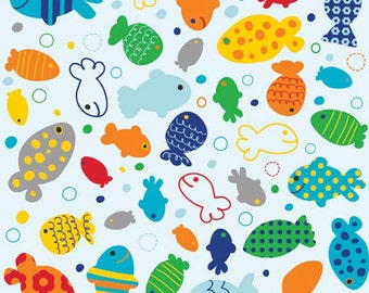 UK Shop: In the Ocean Fish Blue Riley Blake Cotton Fabric