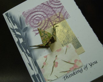 """Origami Peace Crane with """" THINKING OF YOU"""" Greeting Card, Hand Made Art Greeting Card"""