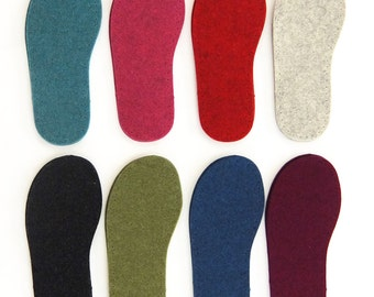 UK Sizes - Thick Felt Soles for Slippers and Socks