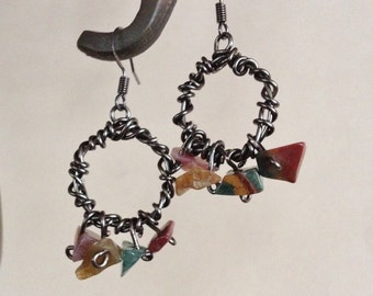 Dark Silver Wire Wrapped Hoops w/Multicolored Stone Accents *** Free US Shipping ***