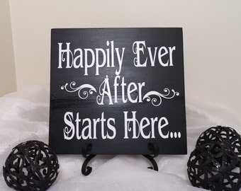 Happily Ever After Starts Here Wedding Sign, Happily Ever After, Wedding Prop, Rustic Wedding Sign, Rustic Happily Ever After Wedding Sign