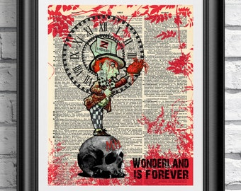 Art print on dictionary book page Zombie Alice in Wonderland. Gothic dark mad hatter antique book page. Wall art the walking dead zombies.