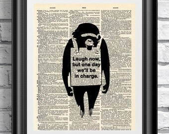 Banksy Monkey quotation on antique dictionary book page print. Wall art animal painting printed on mixed media. Banksy graffiti art.