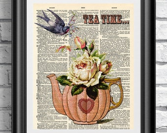 Dictionary art print on antique book page. Vintage tea time art print, upcycled artwork. Art dictionary print. Mother day gift.
