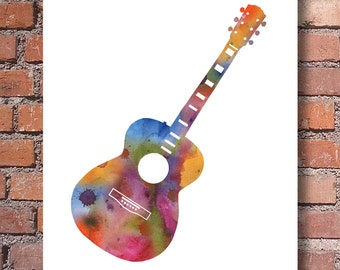 Acoustic Guitar - Art Print - Abstract Watercolor Painting - Wall Decor