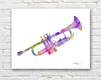 Trumpet Art Print - Abstract Watercolor Painting - Jazz Music - Wall Decor
