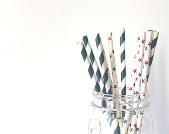 Set of 10 straws blue and red - stripes and stars