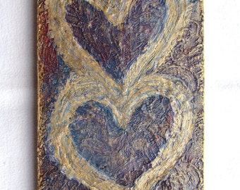 Hearts Original Painting on Wood Block--Textured Art-- Valentines--Hearts Wall Decor--Love--Romantic Art--Gift for Home.
